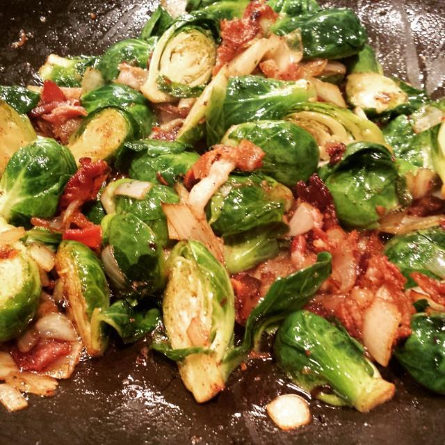Beef Bacon Laced Brussel Sprouts